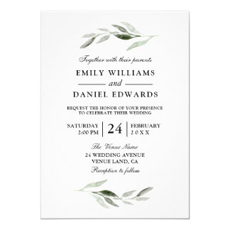 Modern Green Leaf Elegant Wedding Invite