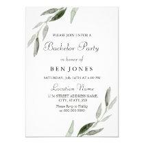 Modern Green Leaf Mens Bachelor Party Invitation