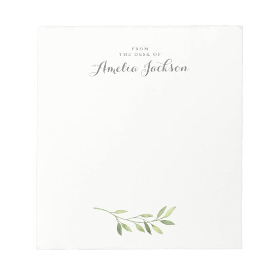 Modern Green Leaf Personalized Stationery Notepad