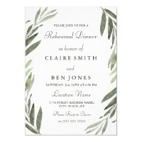 Modern Green Leaf Wedding Rehearsal Dinner Invite