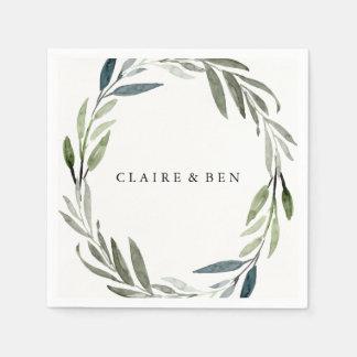 Modern Green Leaf Wreath Wedding Napkin