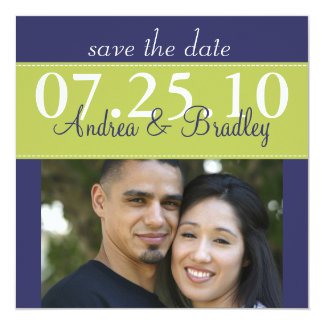 Modern Green Navy Blue Wedding Photo Save the Date 5.25x5.25 Square Paper Invitation Card