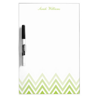Modern Green Ombre Chevrons Personalized Dry-Erase Whiteboards