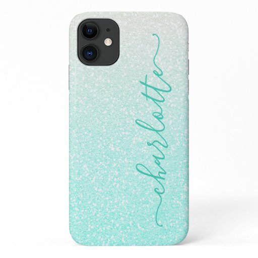 Modern Green Ombre Glitter Girly Chic Personalized iPhone 11 Case
