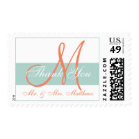 Modern Green Orange Monogram Wedding Thank You Postage