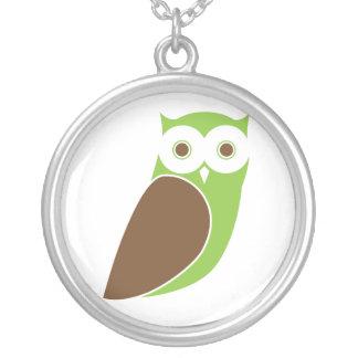 Modern Green Owl Silver Pendant Necklace
