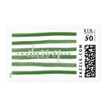 Modern Green Painted Stripes Graduate Postage