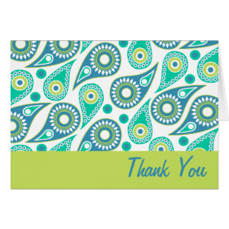 Modern Green Paisley Thank You Cards