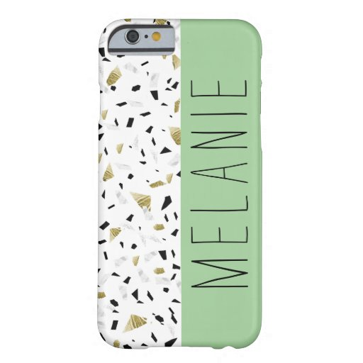 Modern Green Pastel Gold Marble Terrazzo Pattern Barely There iPhone 6 Case