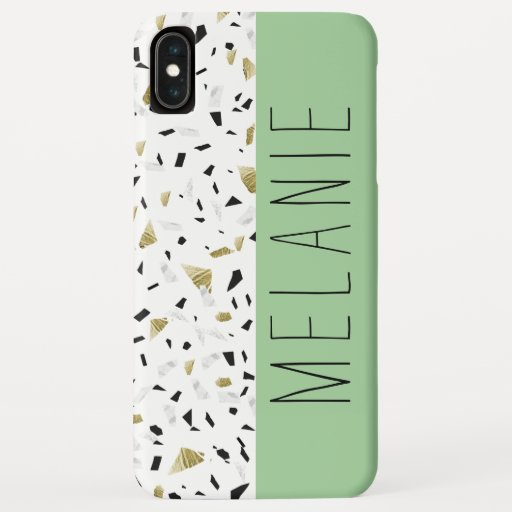 Modern Green Pastel Gold Marble Terrazzo Pattern iPhone XS Max Case
