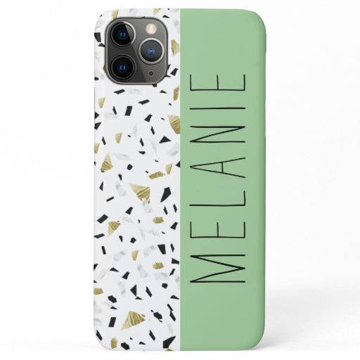Modern Green Pastel Gold Marble Terrazzo Pattern iPhone 11 Pro Max Case