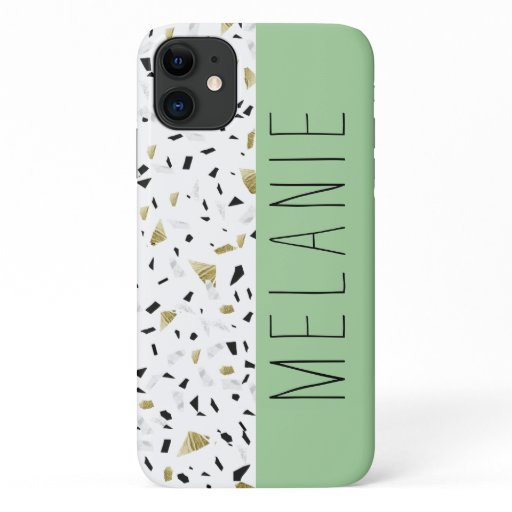 Modern Green Pastel Gold Marble Terrazzo Pattern iPhone 11 Case