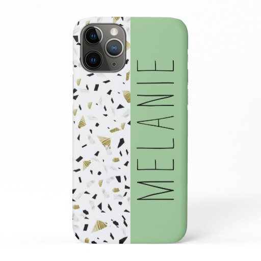 Modern Green Pastel Gold Marble Terrazzo Pattern iPhone 11 Pro Case