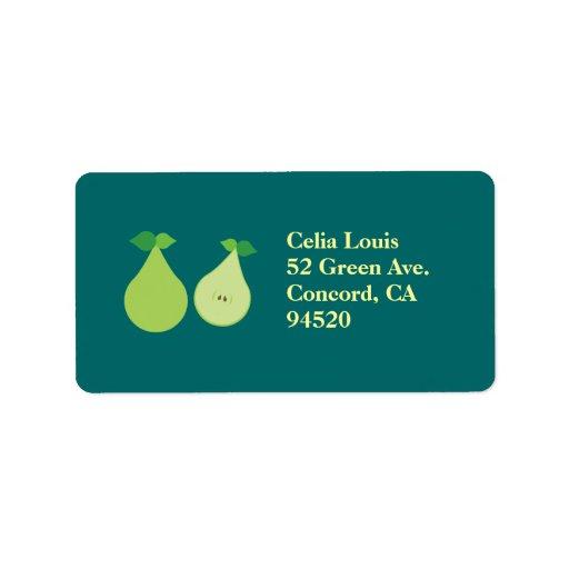 Modern Green Pear Address Label