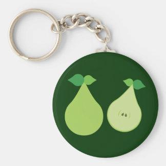 Modern Green Pear Key Chains