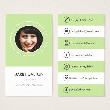 Professional Business Modern Green Photo Social Media Business Card