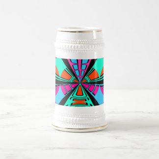 Modern green pink blue semi-circle design 18 oz beer stein