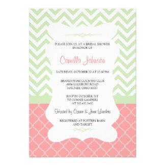 Modern Green & Pink Elegant Chevron Bridal Shower Invites