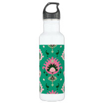 Modern green pink girly ikat tribal pattern stainless steel water bottle
