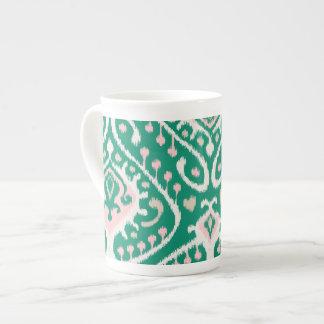 Modern green pink girly ikat tribal pattern tea cup