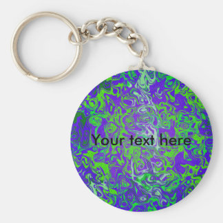 Modern green psychedelic on purple background basic round button keychain