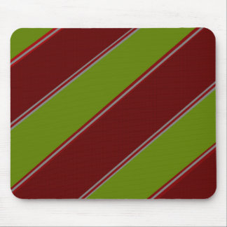 Modern green red diagonal stripes mouse pad