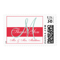Modern Green Red Monogram Wedding Thank You Postage