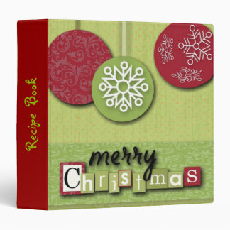 modern green red Ornaments snowflakes christmas 3 Ring Binder