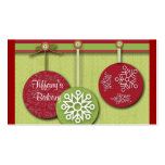 modern green red Ornaments snowflakes christmas Business Card Template