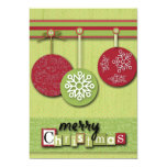 modern green red Ornaments snowflakes christmas Custom Invitation