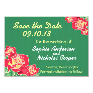 "Modern Green Rose Save the Date Invitation 5"" X 7"" Invitation Card"
