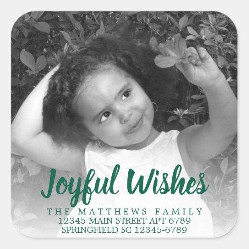 Modern Green Rustic Joyful Wishes Photo Address Square Sticker