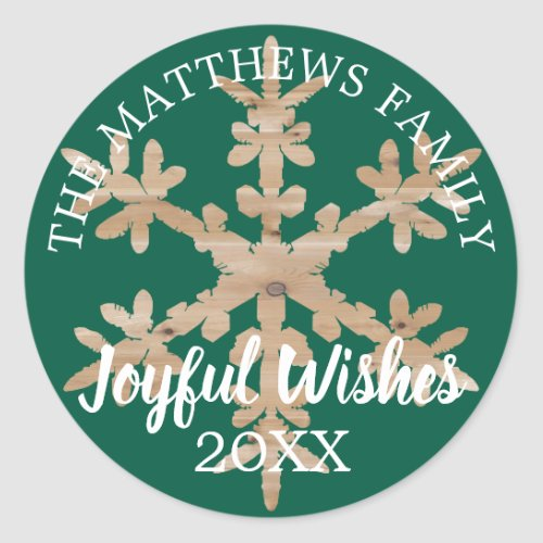 Modern Green Rustic Snowflake Personalized Year Classic Round Sticker