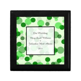 Modern Green Spots Pattern Wedding Keepsake Keepsake Box