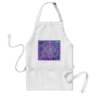 Modern green squares on pink background adult apron