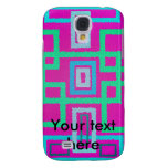 Modern green squares on pink background samsung galaxy s4 covers