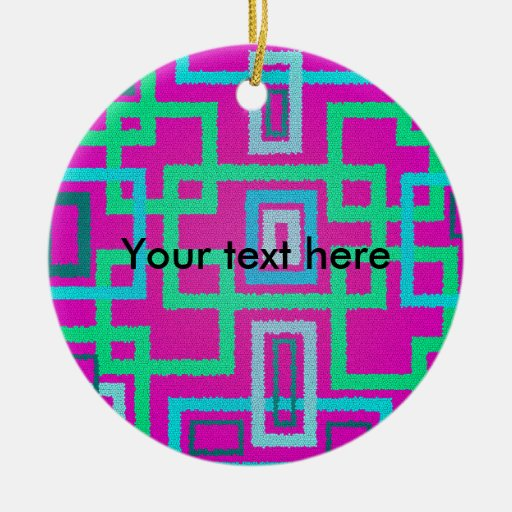 Modern green squares on pink background christmas ornament