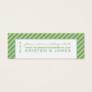 Modern Green Stripe Wedding Website Enclosure Card