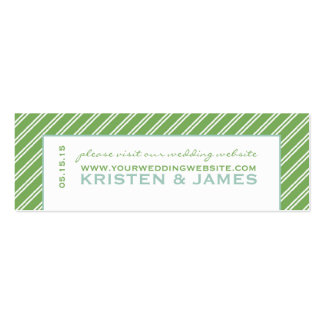 Modern Green Stripe Wedding Website Enclosure Card Double-Sided Mini Business Cards (Pack Of 20)