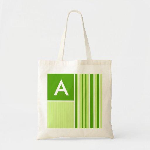 Modern Green Stripes; Striped Canvas Bags