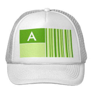 Modern Green Stripes; Striped Mesh Hat