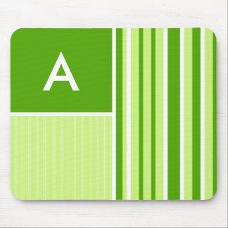 Modern Green Stripes Striped Mousepads