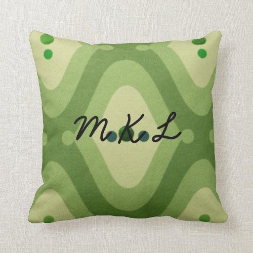 Modern Green Pillow : Modern Green Swirl Customize Monogram Throw Pillow Zazzle