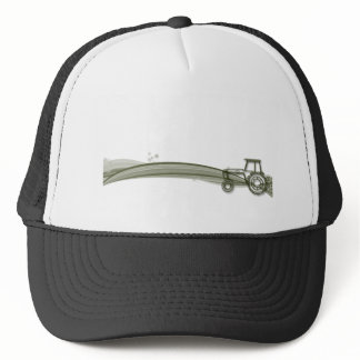 Modern Green Tractor Illustration Cap