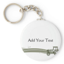 Modern Green Tractor Illustration Keychain