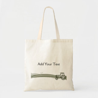 Modern Green Tractor Illustration Tote Bag