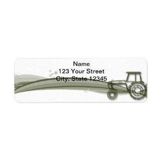 Modern Green Tractor on Green Field Return Address Label
