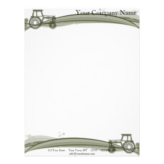 Modern Green Tractor on Green Fields Illustration Letterhead