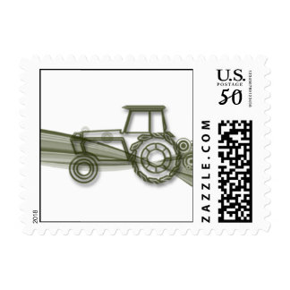 Modern Green Tractor on Green Fields Postage Stamp