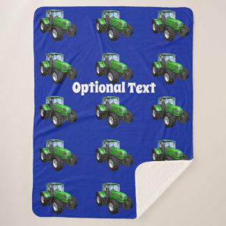 Modern Green Tractor Pattern Sherpa Blanket